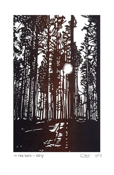 linoleumsnede In het bos