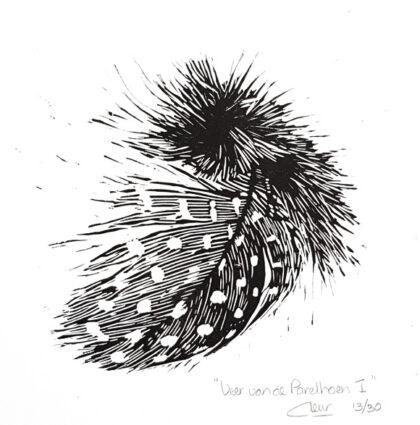 linoleumsnede Veer van de Parelhoen