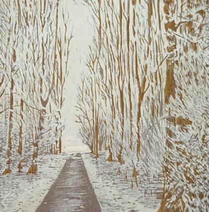 """Houtsnede """"Winter"""""""